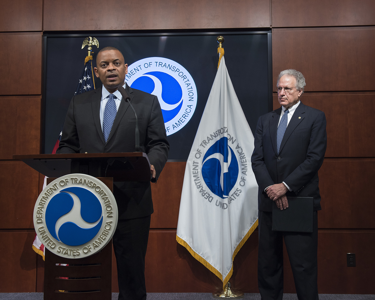 Secretary Foxx and NHTSA Administrator Mark Rosekind at an earlier announcment
