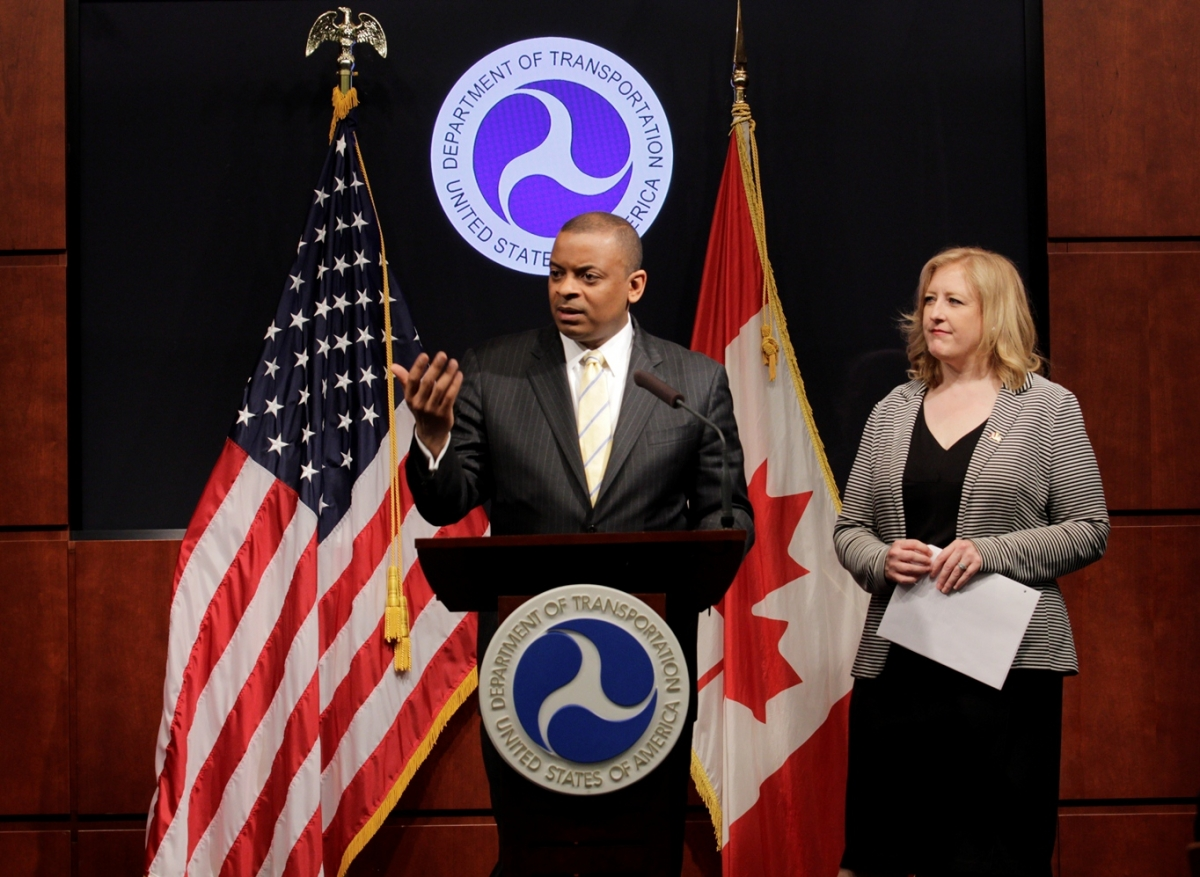 Secretary Foxx with Canadian Transport Minister Lisa Raitt