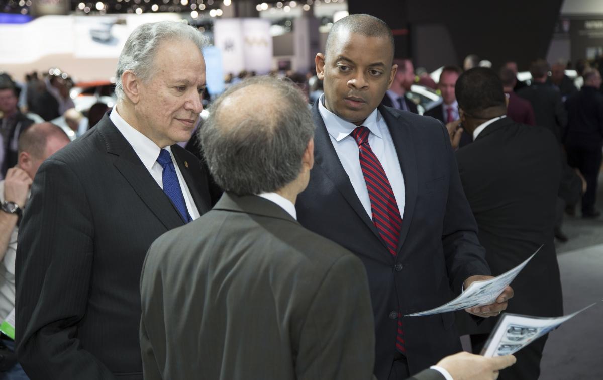 Secretary Foxx walks the Detroit Auto Show with NHTSA Administrator Mark Rosekind