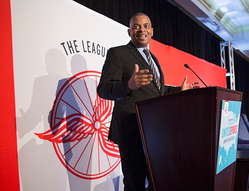 Photo of Secretary Foxx at 2014 National Bike Summit