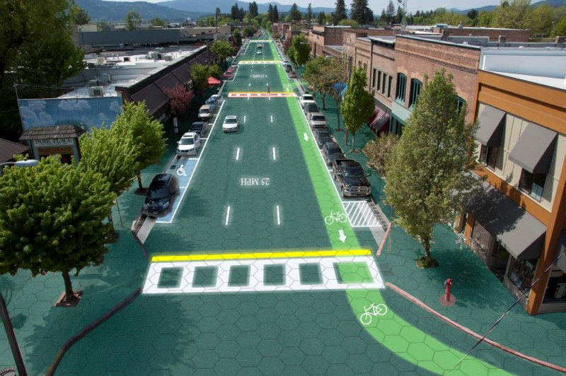 Rendering of Sandpoint, Idaho, with solar roadway pavement