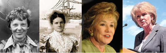 Photo collage of Amelia Earhart, Emily Roebling, Elizabeth Dole, and Mary Peters