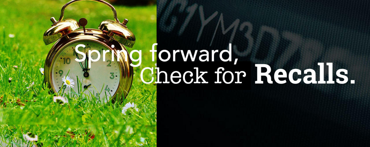 "Photo of clock in spring meadow with vin number ""Spring Forward and Check for Recalls"