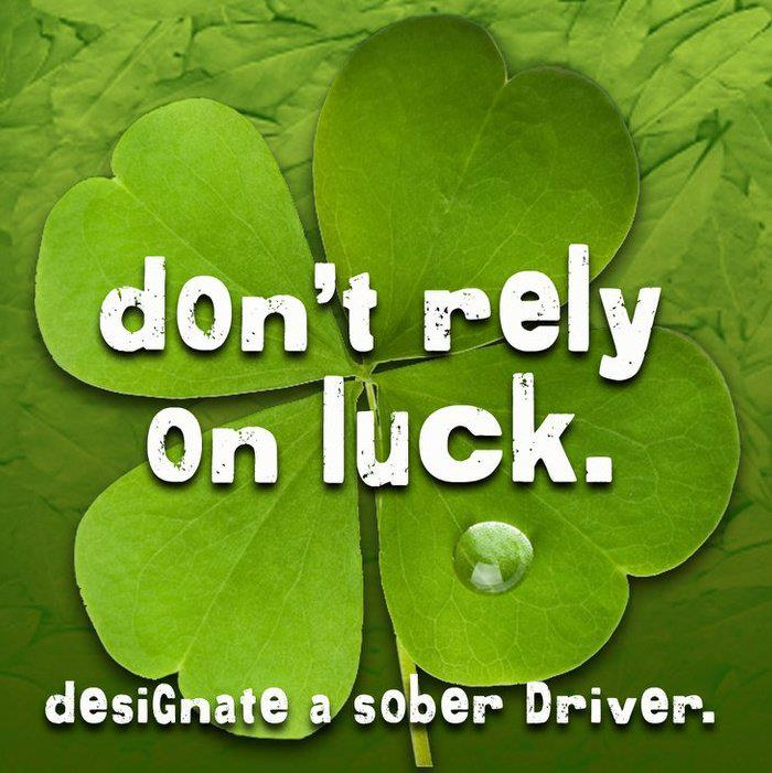 Graphic advising against drinking and driving on St. Patrick's Day