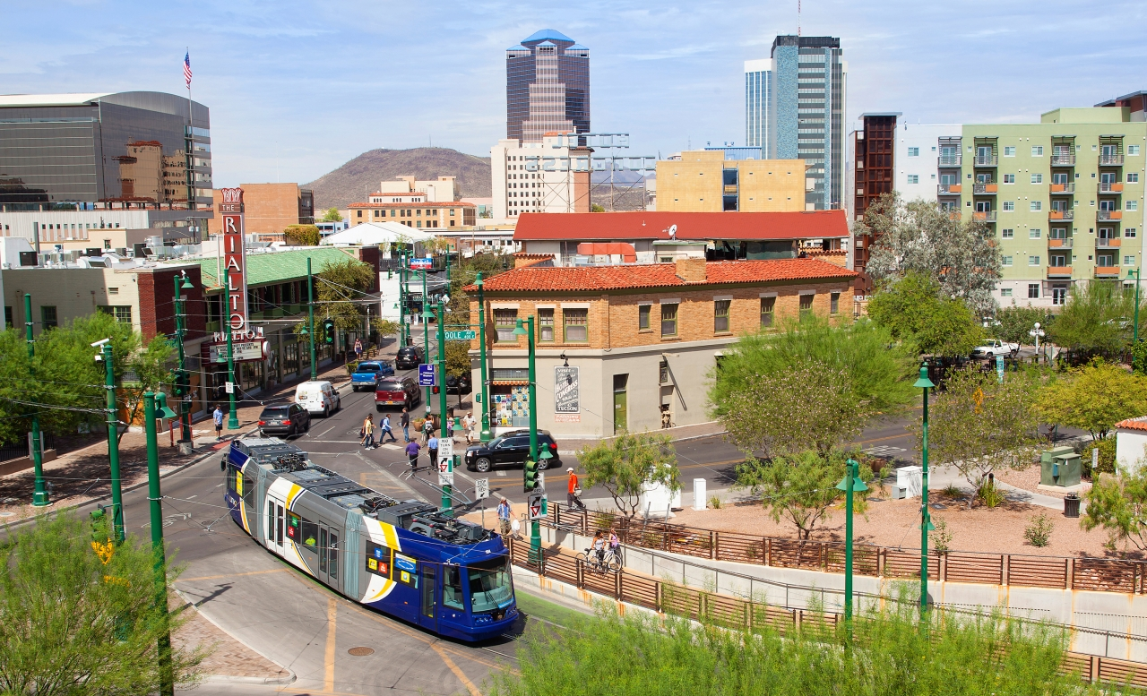 Photo of Sun Link streetcar moving through downtown Tucson