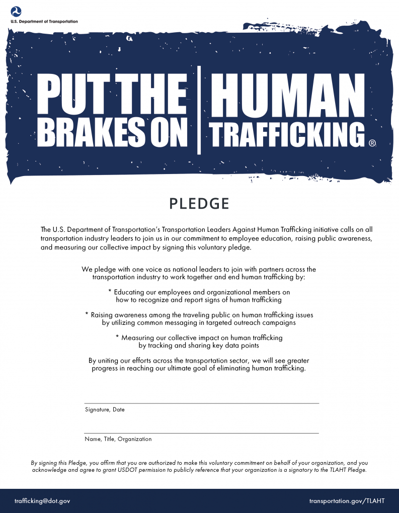 Transportation Leaders Against Human Trafficking Pledge