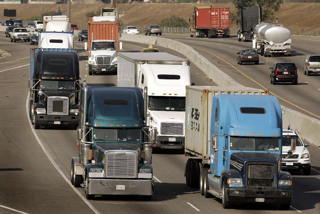 Photo of trucks on a California highway