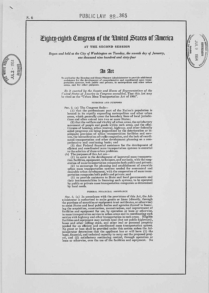 Photo of page 1 of the Urban Mass Transit Act