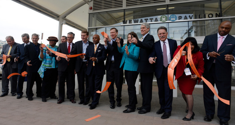Photo of ribbon-cutting for Denver's Union Station; photo courtesy Denver Post, Andy Cross