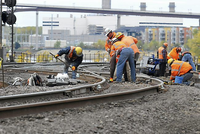 Photo of rail work near St. Paul's Union Depot