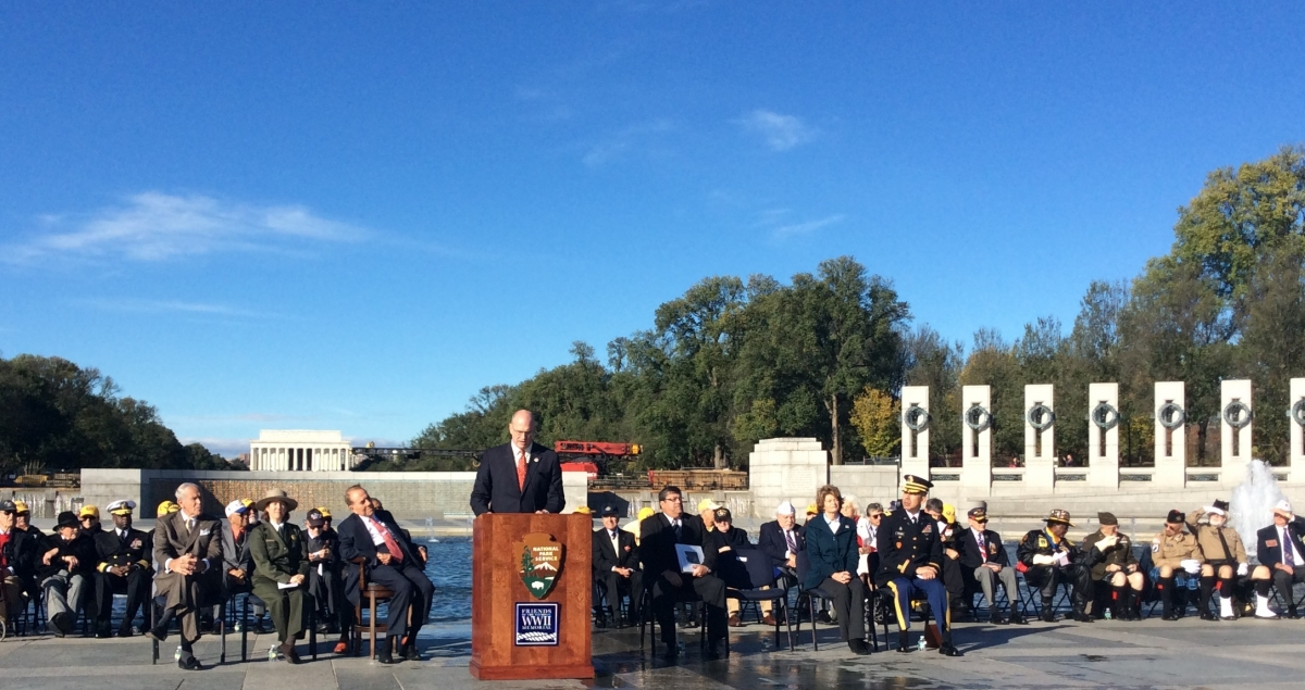 Wreath-laying ceremony at World War II Memorial