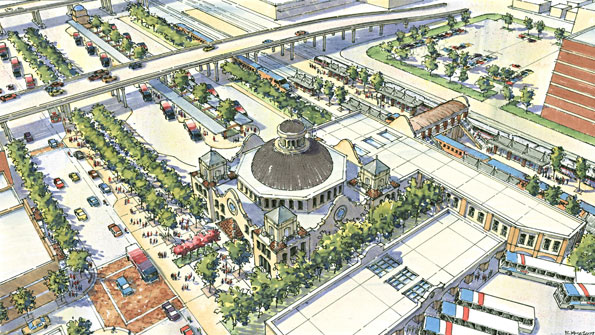 Artist's rendering of the Westside Multimodal Transit Center currently under construction in San Antonio