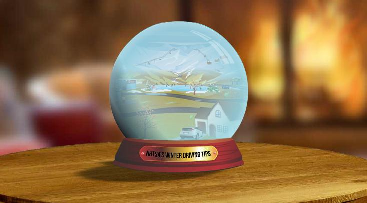 Screen capture of N.H.T.S.A. winter driving snow globe