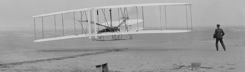 Photo of early Wright Brothers flight