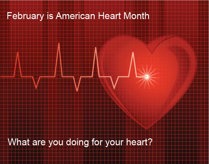 Graphic of a heart advertising American Heart Month