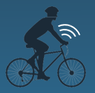 image of smart bike with wifi signal logo
