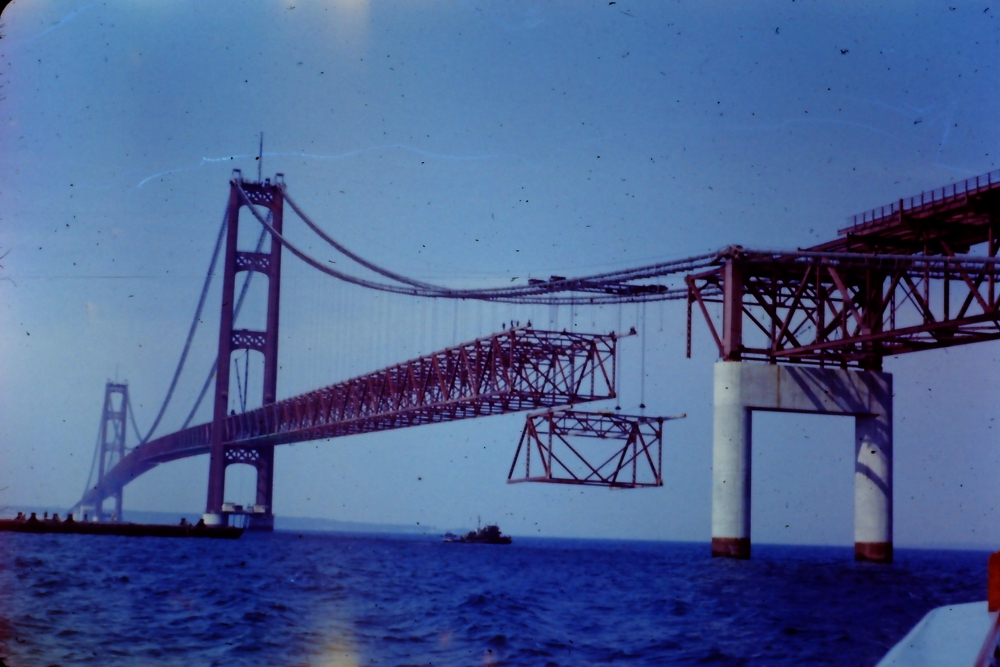 Construction photo of Mackinac Bridge