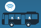 image of smart bus with passenger with wifi signal logo