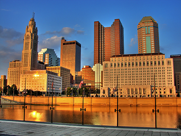 image of water and buildings in columbus