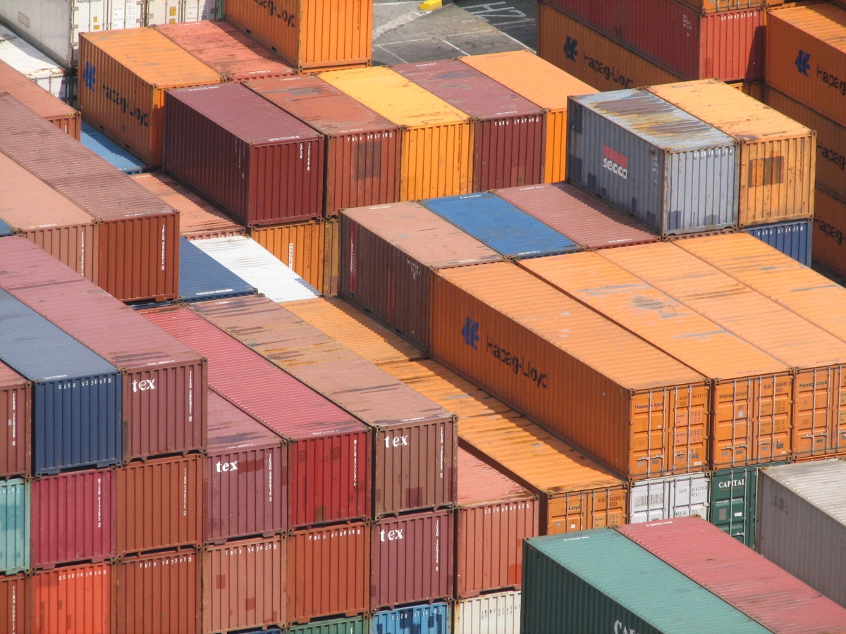 Freight containers await shipping