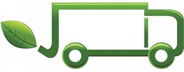 Graphic depicting a green cartoon truck with a leaf for exhaust