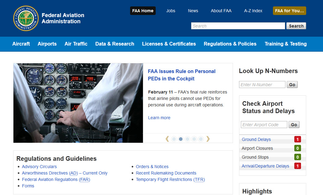 Screen capture of www.faa.gov