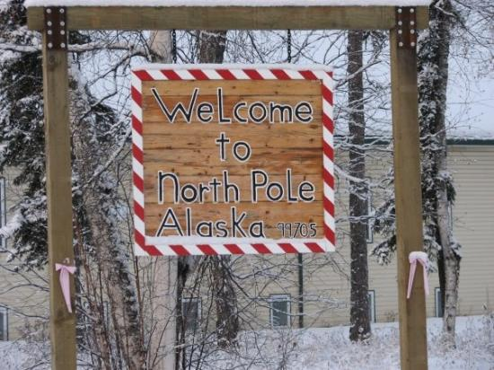 Welcome sign for North Pole, Alaska