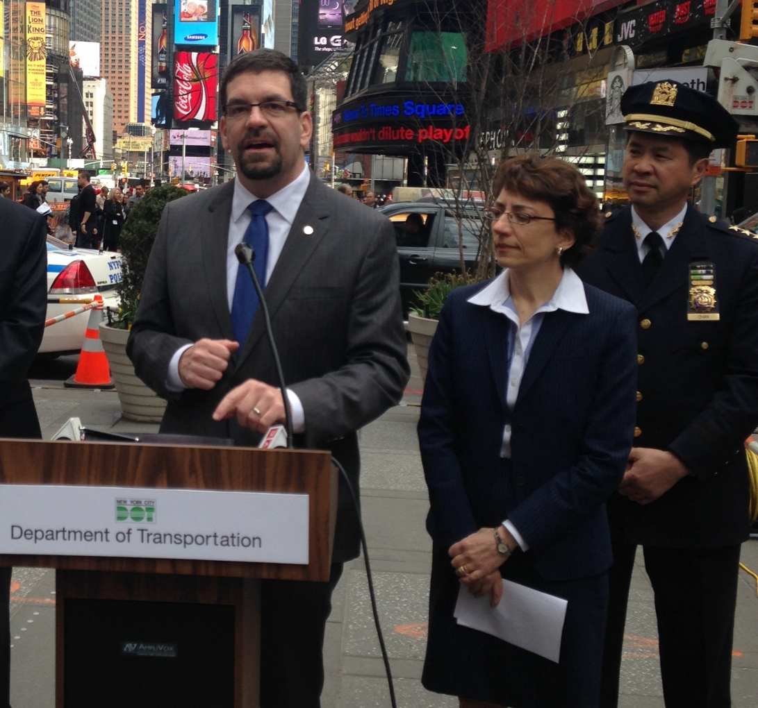 Photo of David Friedman of NHTSA announcing the grants in New York's Times Square