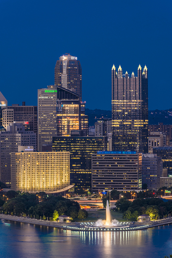 night view of city in pittsburgh