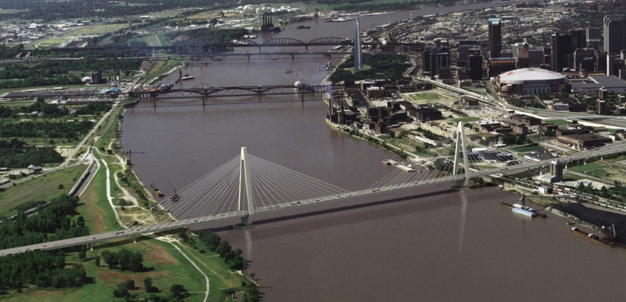 Photo of the new Stan Musial Veterans Memorial Bridge across the Mississippi River between Illinois and Missouri