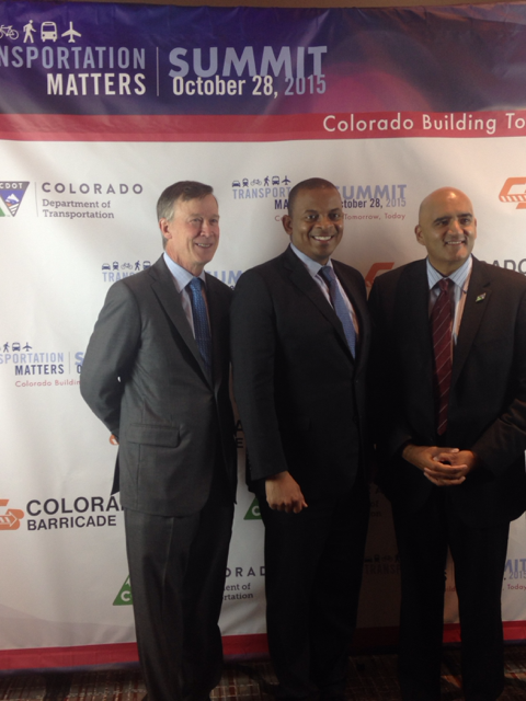 Secretary Foxx with Governor Hickenlooper and Colorado Transportation Secretary Shailen Bhatt