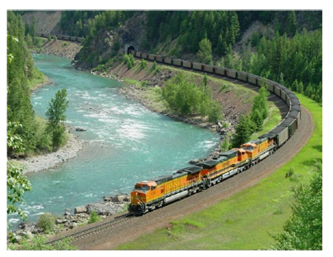 Train next to river