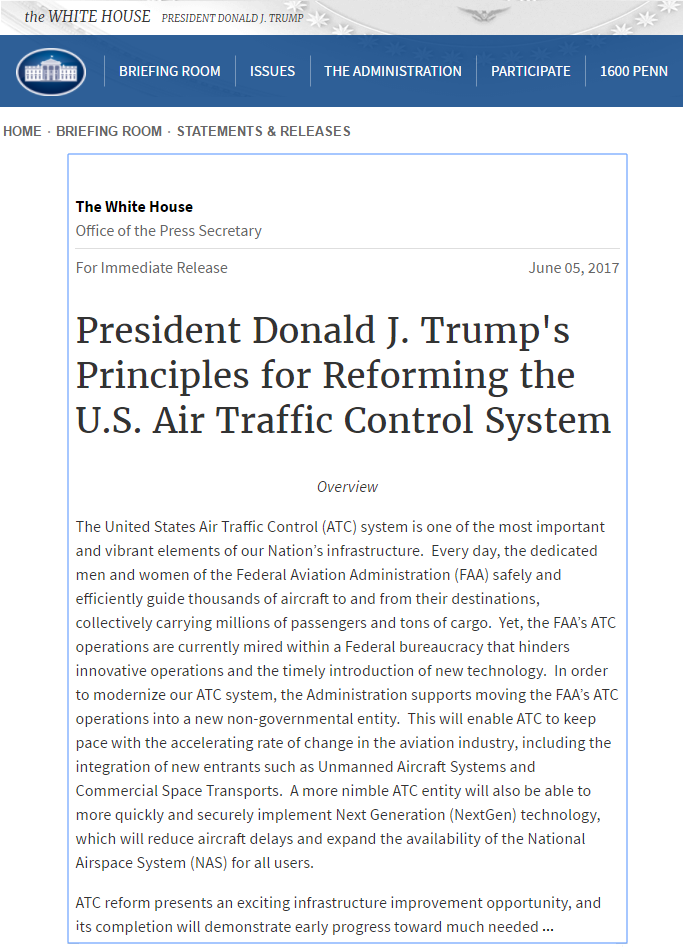 Screenshot of https://www.whitehouse.gov/the-press-office/2017/06/05/president-donald-j-trumps-principles-reforming-us-air-traffic-control