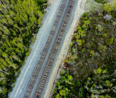 An aerial view of a railroad track.