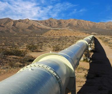 A pipeline in the desert.