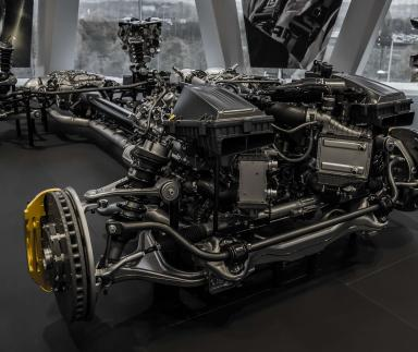 An exposed automobile engine.