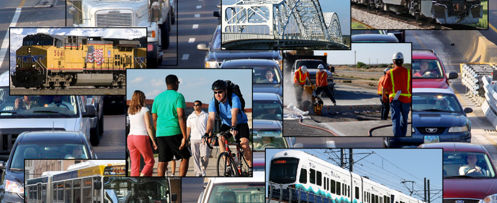 Photo-collage of different modes of transportation