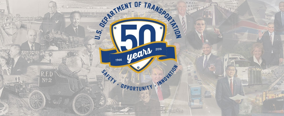 50th anniversary logo on backdrop of transportation collage