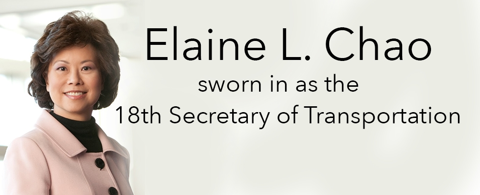 Elaine L. Chao sworn in as 18th Secretary of Transportation