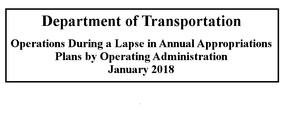 DOT plan for lapse in annual appropriations