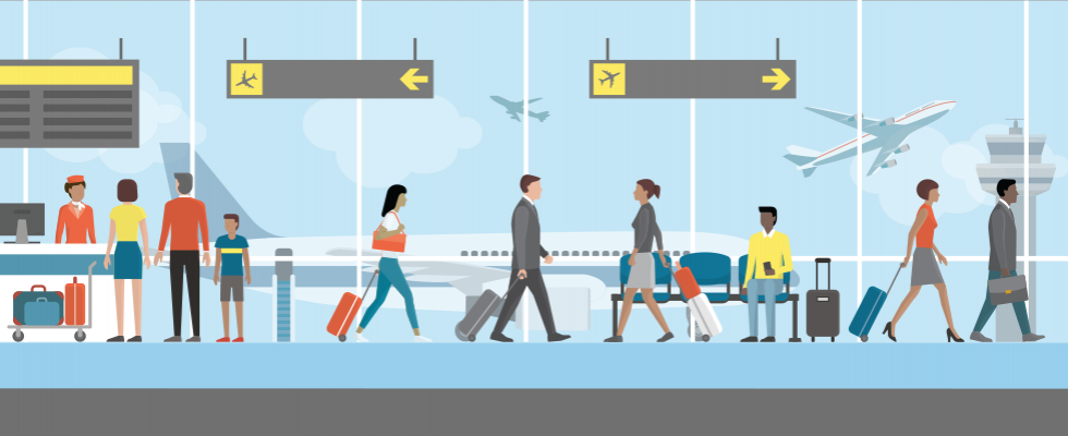 Vector graphic of airport with people inside