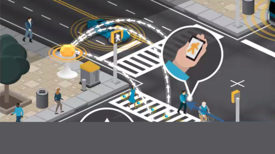 Graphic showing pedestrian applications of connected vehicle technology