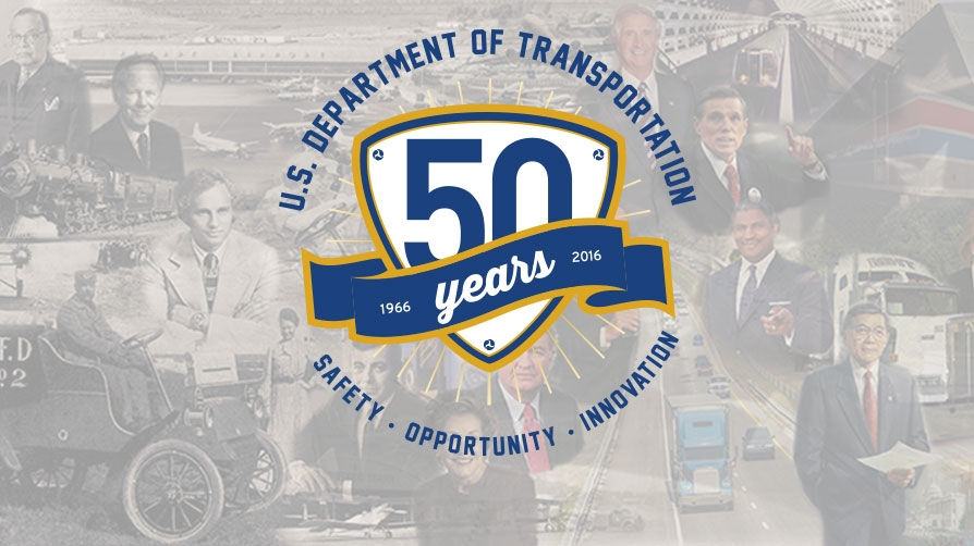 50th anniversary logo with background transportation collage