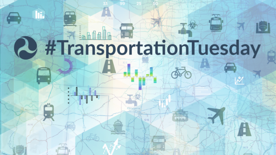"Decorative image with text, ""hashtag Transportation Tuesday"""