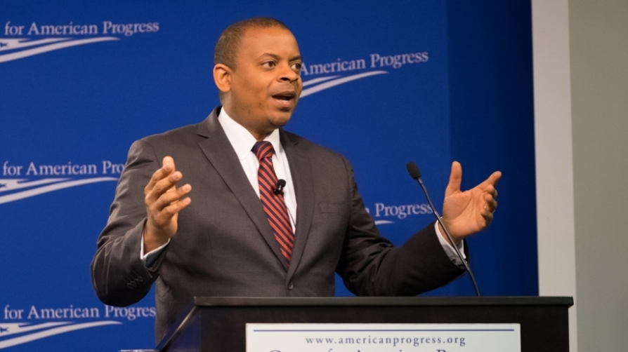 Secretary Foxx delivering his speech at the Center for American Progress