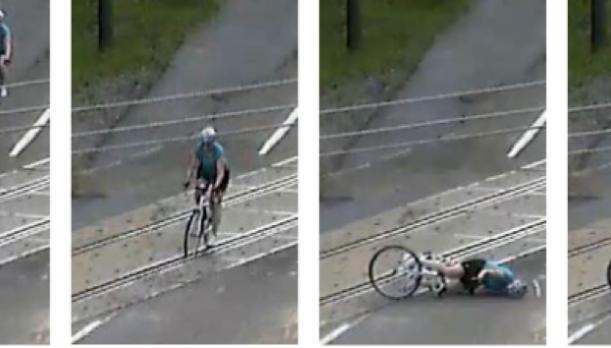 Biker falling down
