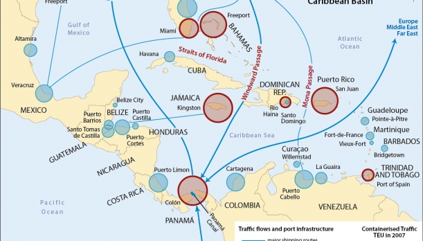 Map of the Principal Container Ports of the Caribbean Basin