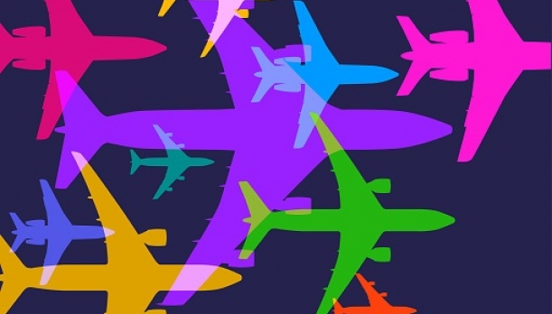 Graphic image of colorful airplanes
