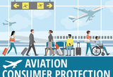 Graphic of air travelers walking through airport terminal with one traveler in a wheelchair