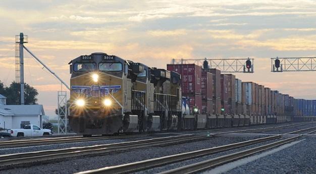 Freight train in Hershey, Nebraska, at twilight